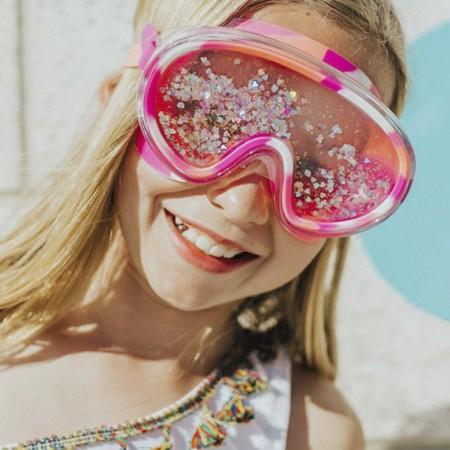Maska do pływania z różowym brokatem Bling2O