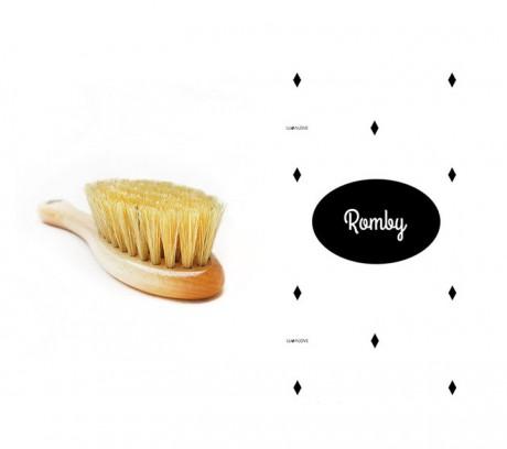 Szczotka z naturalnego włosia z myjką muślinową | wzór romby |  Lullalove