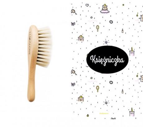 Miękka szczotka z koziego włosia z myjką muślinową   wzór myjki Księżniczka   Lullalove