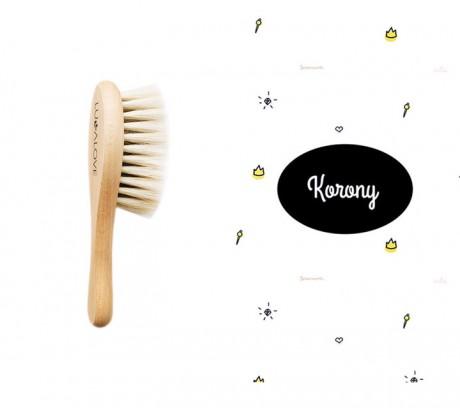 Miękka szczotka z koziego włosia z myjką muślinową | wzór myjki Korony | Lullalove
