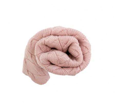 Kocyk z wełny merino, kolor pudrowy róż Lullalove