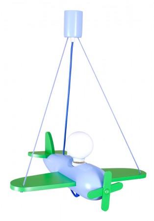 Lampa wisząca Samolot Clipper zielono-niebieski Hellux