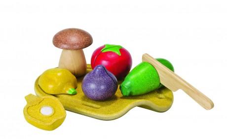 Drewniane warzywa z deską do krojenia Plan Toys