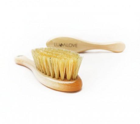 Szczotka z naturalnego włosia z myjką muślinową | Lullalove