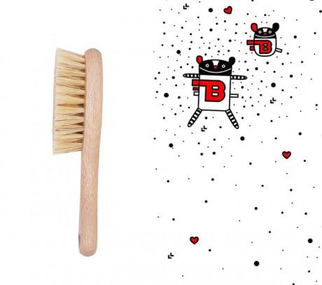 Szczotka z naturalnego włosia z myjką muślinową | wzór MRB | Lullalove