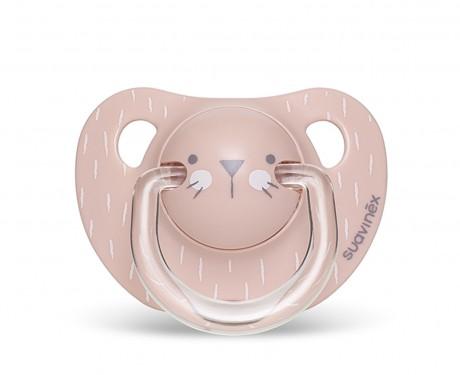 Smoczek anatomiczny silikon 6-18m Kotek Różowy | Suavinex HYGGE BABY