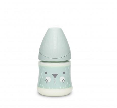 Butelka 150ml z smoczkiem okrągłym wzór Kotek Miętowy Suavinex HYGGE BABY