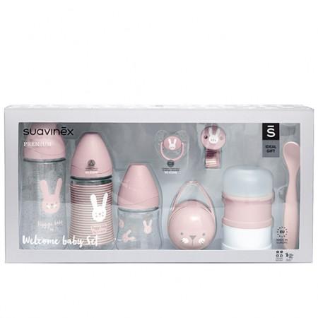 Różowy zestaw startowy dla noworodka Welcome Baby Set Suavinex HYGGE BABY - opakowanie
