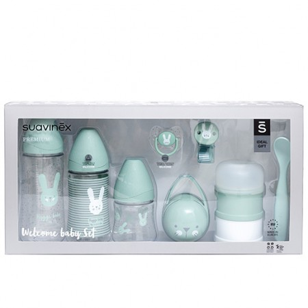 Miętowy zestaw startowy dla noworodka Welcome Baby Set Suavinex HYGGE BABY - opakowanie