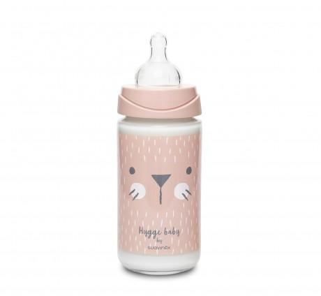 Szklana butelka 240ml z smoczkiem okrągłym wzór Kotek Różowy Suavinex HYGGE BABY