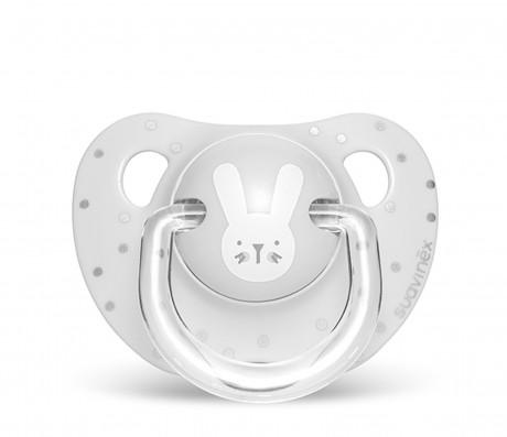 Smoczek anatomiczny silikon 0-6m Królik Szary | Suavinex HYGGE BABY