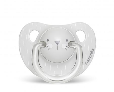 Smoczek anatomiczny silikon 6-18m Kotek Szary | Suavinex HYGGE BABY - dostepne wzory