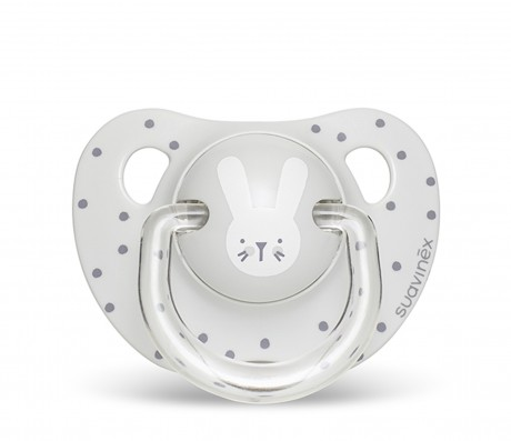 Smoczek anatomiczny silikon 18m+ Królik Szary | Suavinex HYGGE BABY