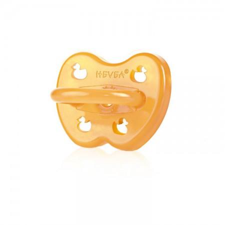 Smoczek kauczukowy symetryczny dla dzieci 0-3m kolor bursztynowy HEVEA