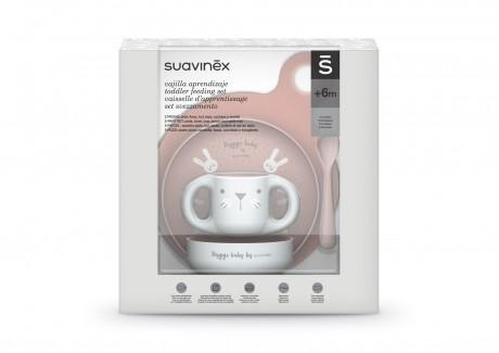 Zestaw do nauki samodzielnego jedzenia kolor różowy Suavinex HYGGE BABY - opakowanie