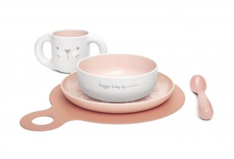 Zestaw do nauki samodzielnego jedzenia kolor różowy Suavinex HYGGE BABY