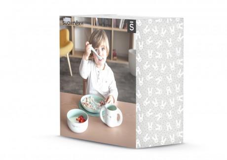 Zestaw do nauki samodzielnego jedzenia kolor zielony Suavinex HYGGE BABY