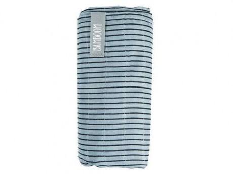 Bambusowy otulacz XL 120x120 cm niebieski w paski Bamboom
