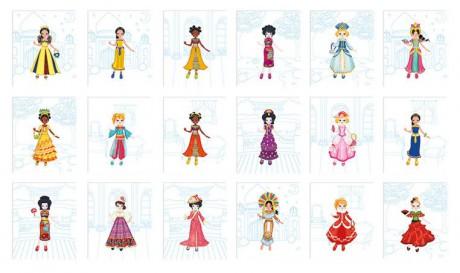 Obrazki przedstawiają stroje kobiet z różnych kultur