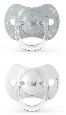 Smoczek fizjologiczny Suavinex SX Pro silikonowy 2szt. 0-6m Spread Joy srebrne