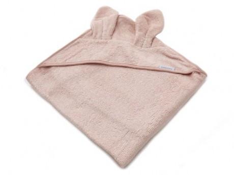 Ręcznik bambusowy z kapturkiem i uszami kolor różowy 100x100 Bamboom