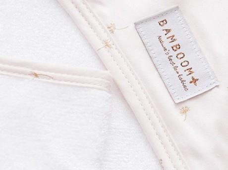 Ręcznik bambusowy z kapturkiem + myjka wzór Pink Flower Bamboom