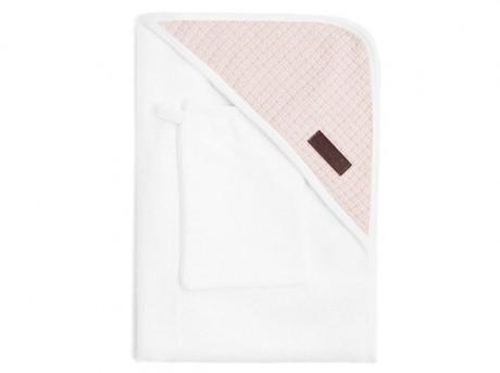Ręcznik bambusowy z kapturkiem + myjka kolor bialy i różowy Bamboom