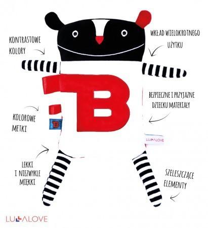Super Zabawka Mr B posiada szeleszczące elementy i metki