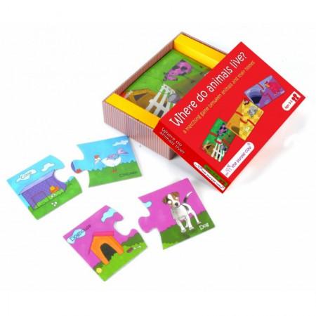 Puzzle 2 elementowe | Gdzie mieszkają zwierzęta? | The Purple Cow