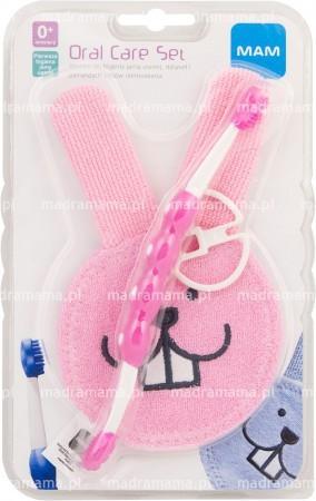 Zestaw do higieny i masażu dziąseł - różowy