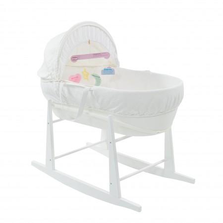 Do kosza mojżeszowego Shnuggle można dokupić specjalny stojak z płozami,który pozwoli na kołysanie dziecka jak w kołysce