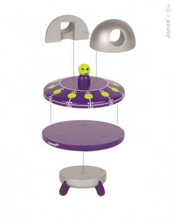 Magnetyczna układanka drewniany statek UFO