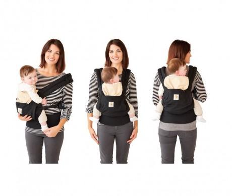 3 możliwe pozycje noszenia dziecka w nosidełku Ergobaby Original