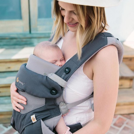 Wkładka dla noworodka do nosidełka Ergobaby | Easy Snug Grey Cool Air Mesh