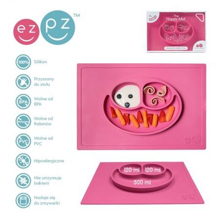 Silikonowy talerzyk z podkładką 2w1 Happy Mat różowy| EZPZ