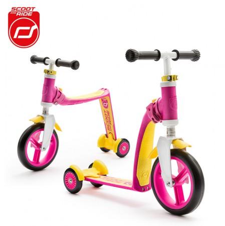 Rowerek biegowy i hulajnoga 2w1 | 1-3 lata Highwaybaby Plus | Scoot & Ride | kolor różowy
