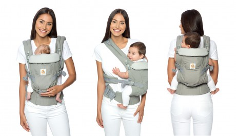 3 możliwe pozycje noszenia dziecka w nosidełku Ergobaby ADAPT