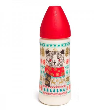 Butelka 360ml | smoczek okrągły 3P | Miś czerwona | Suavinex Winter