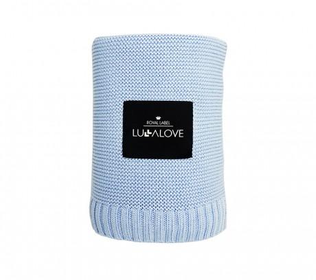 Bambusowy kocyk tkany | niebieski | Lullalove