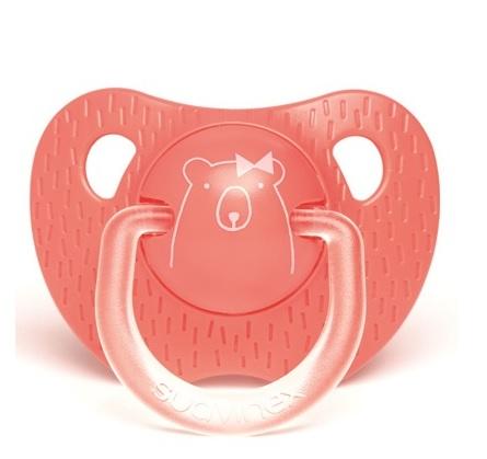 Smoczek anatomiczny | 6-18m | Evolution | ciemno-różowy Miś | Suavinex Meaningful Life Bear