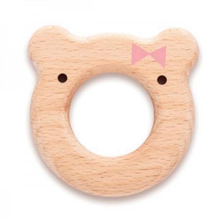 Gryzak Miś różowy | drewno bukowe | Suavinex Meaningful Life Bear