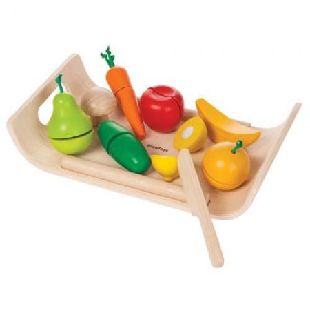 Warzywa i owoce do krojenia - drewniany zestaw do zabawy | Plan Toys