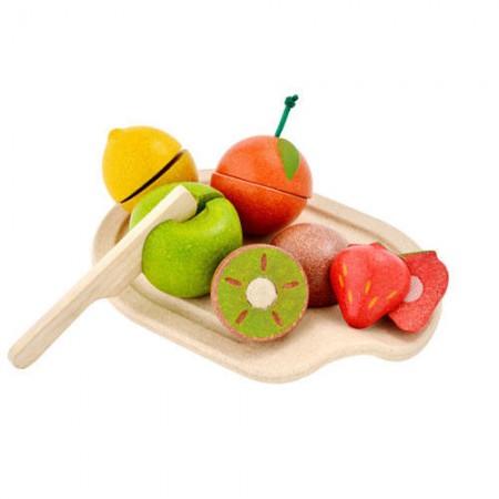 Owoce do krojenia - drewniany zestaw z tacką   Plan Toys