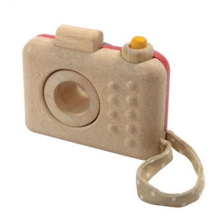 Aparat drewniany z kalejdoskopem Plan Toys - tył zabawki