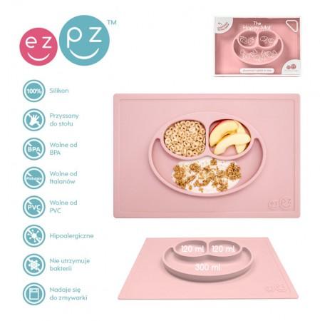Silikonowy talerzyk z podkładką 2w1 Happy Mat pastelowy różowy   EZPZ