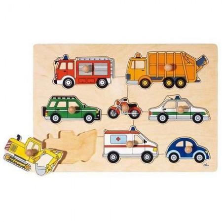 Drewniana układanka - puzzle z uchwytami | Pojazdy | Goki