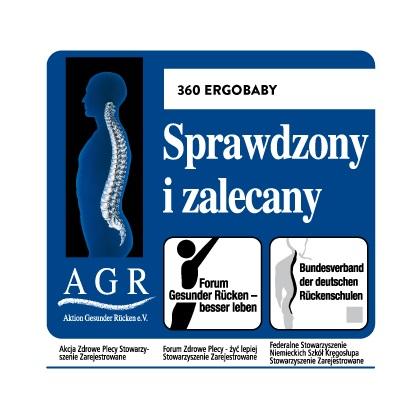 Nosidła Ergobaby 360 uzyskały znak jakości AGR - oznacza to, że są one przyjazne dla kręgosłupa!