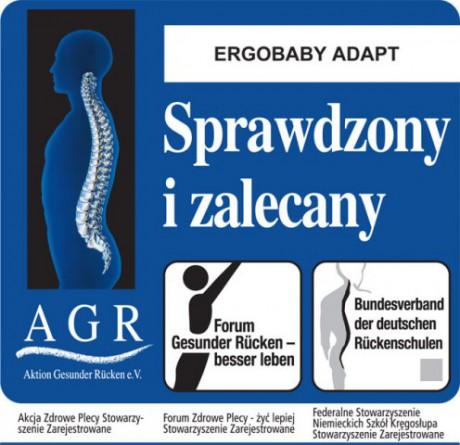 Nosidła Ergobaby Adapt uzyskały znak jakości AGR - oznacza to, że są one bezpieczne dla kręgosłupa!