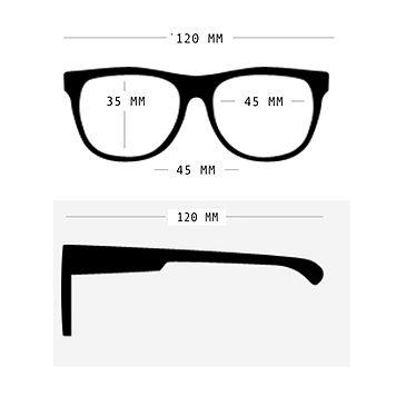 Wymiary okularów Babiators wielkość 3-7 lat