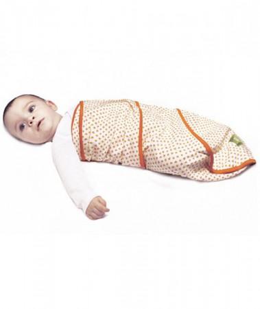 Otulacz bawełniany dla noworodka | pomarańczowe kwiaty | Nati Naturali | 40settimane